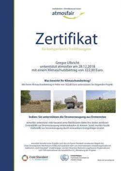 atmosfair Zertifikat 2018 für kompensierte Treibhausgase