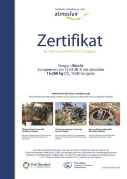 atmosfair Zertifikat 2015 für kompensiertes CO2 von DJ Greg Oorange für nachhaltige Events